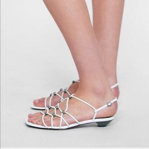 Zara White strappy sandals with beading size 9